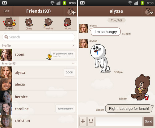 LINE for Android Brown2