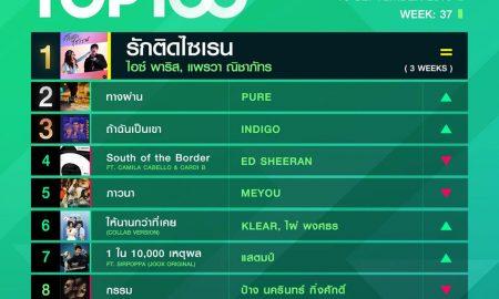 10 อันดับเพลงฮิต Thailand TOP100 by JOOX วันที่ 16 กันยายน 2562