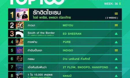10 อันดับเพลงฮิต Thailand TOP100 by JOOX วันที่ 9 กันยายน 2562
