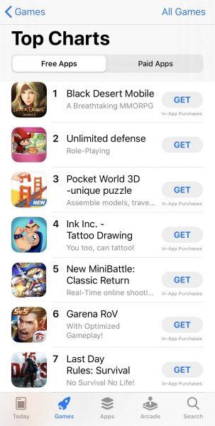 Thailand_#1 Game App_iOS App Store